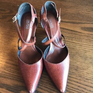 Hugo Boss cognac cross strap d'orsay pumps NWOT